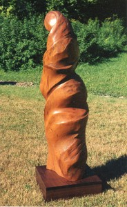 This sculpture was carved from Cerry wod